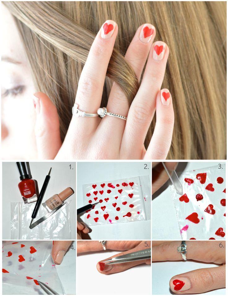 valentine nails for short nails