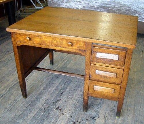 Old Fashioned Wooden School Desks
