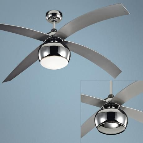 60 monte carlo vios nickel ceiling fan with light kit r2721. Black Bedroom Furniture Sets. Home Design Ideas