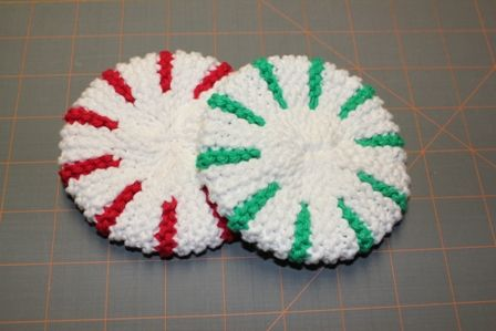Knitted Scrubbies Free Pattern : Peppermint Dish Scrubbies - KNITTING Christmas Pinterest