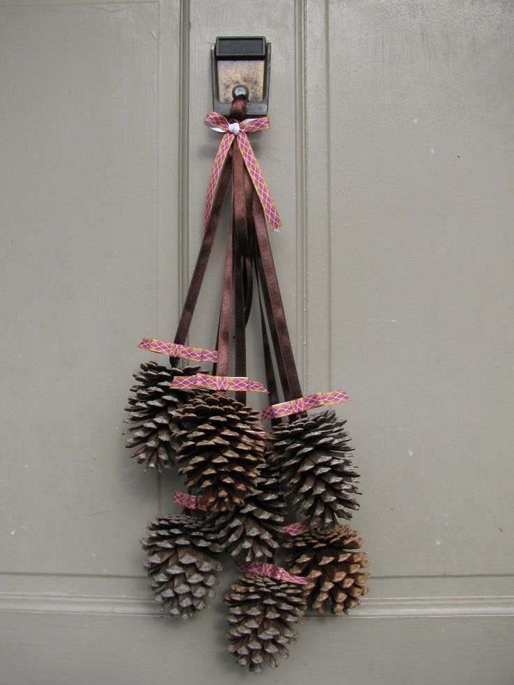 Diy pine cone door decor for the home pinterest