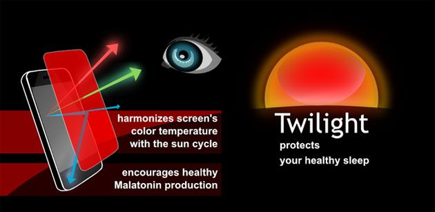 Twilight App: This app filters the blue spectrum on your phone or tablet after sunset and protects your eyes with a soft and pleasant red filter. Recent research suggests that exposure to blue light before sleep may distort your natural (circadian) rhythm and cause inability to fall asleep. I've been sleeping great since I installed this app and I would suggest anyone try out the free version.