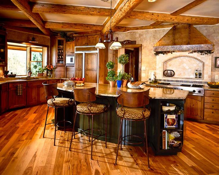 Beautiful Log Cabin Kitchen For The Love Of Log Homes Pinterest