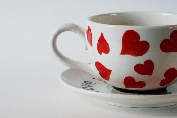 Love You A Latte Red Heart Latte Mug And Saucer by GrayDecember, $32 ...