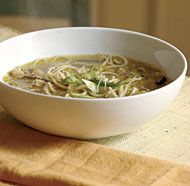 Chicken Noodle Soup with Ginger, Shiitakes & Leeks - try with seitan