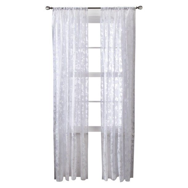 "Threshold™ Botanical Burnout Sheer Curtain Panel - White (54x84"")"