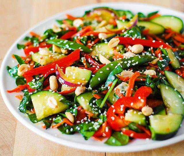 Crunchy Asian salad with peanut dressing by JuliasAlbum.com, via ...