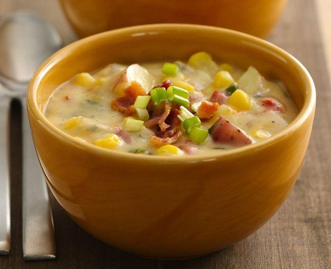 Potato and corn chowder. I use red potatoes, turkey bacon and flat ...