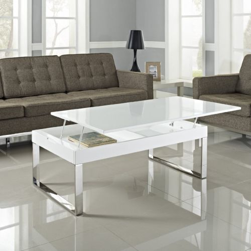 Modern White Glass Chrome Coffee Table Hidden Storage Lift Top
