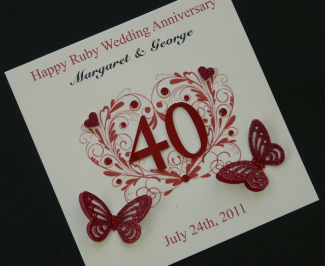 Beautiful Personalised Handmade Ruby Wedding Anniversary Card 40 Yea