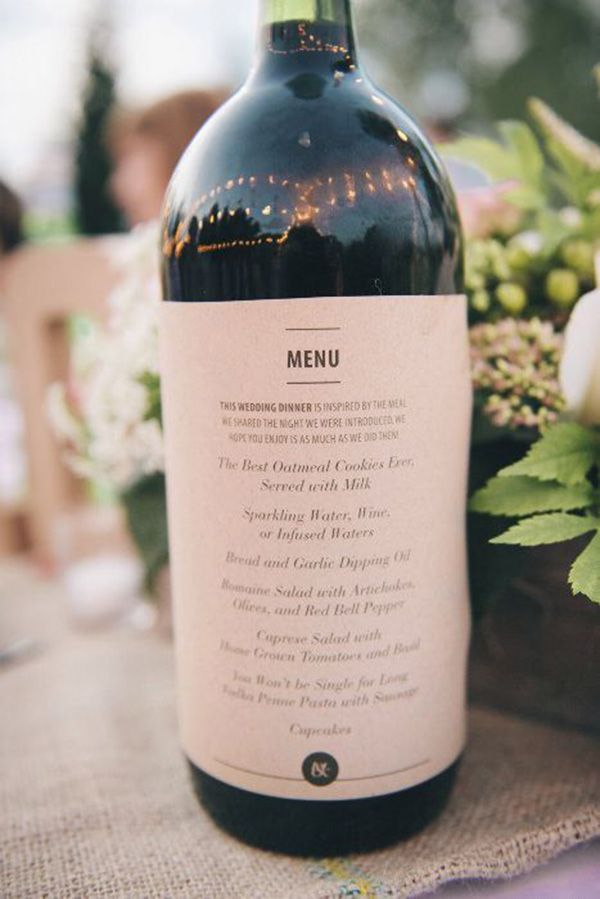 Such a good idea! Print your wedding menu on wine bottles for each table. You'll save paper, money, table space, and everyone will see it!