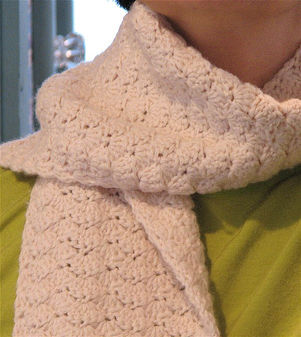 Cream Shell Stitch Crochet Scarf Crochet & Knit Pinterest