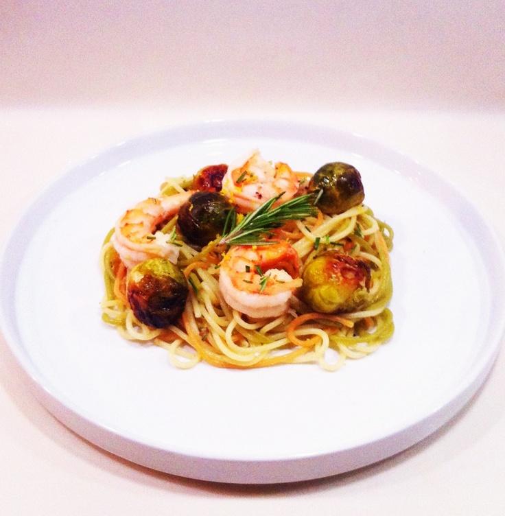 Rosemary garlic shrimp, tricolor pasta from Italy, roasted brussel ...