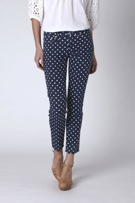 Navy ankle length Pants with white Polka Dots