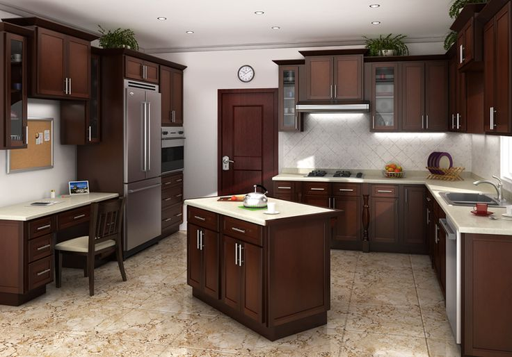 Cognac Shaker Kitchen Cabinets  Kitchens  Pinterest
