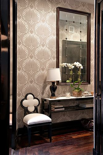 Taupe black cream and damask wallpaper powder rooms for Black and cream wallpaper
