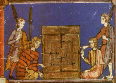 Juego del Molino, nine men's Morris,... Una ilustración del siglo XIII en el Libro de los juegos, de Alfonso X, El Sabio.