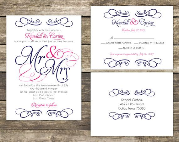 Wedding Invitation Suite DIY - Mr and Mrs Blue and Pink Wedding ...