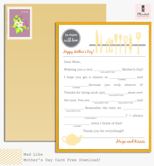 Mad Libs Mother's Day Card Freebie<3