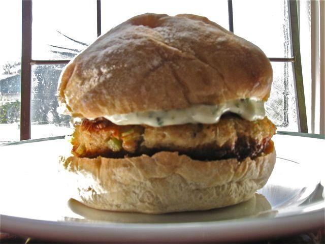 salmon burger with tartar sauce & salad with lemon vinaigrette