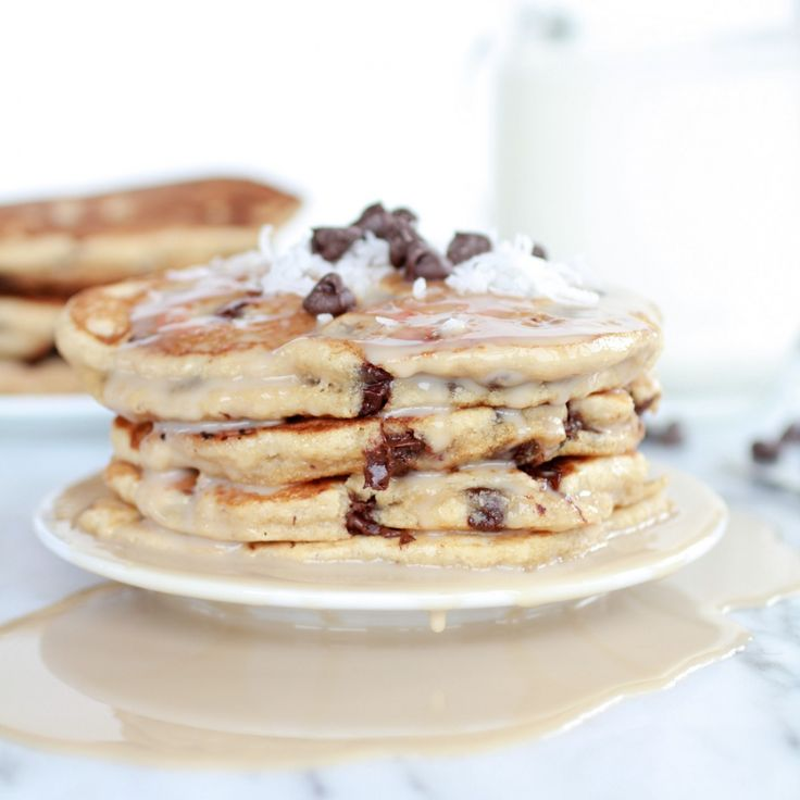 Whole Wheat Chocolate Chip Banana Bread Pancakes with Vanilla Coconut ...