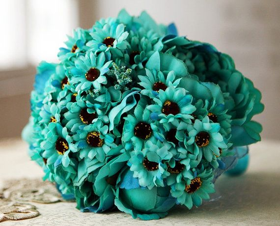 Teal/ Turquoise Sunflower Peony Bridal Bouquet