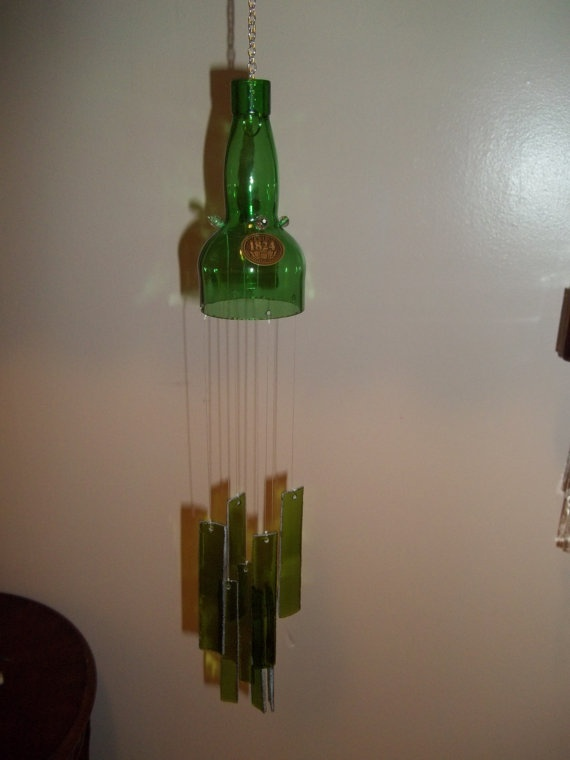 Green glass bottle wind chime wind chimes pinterest for Glass bottle wind chimes