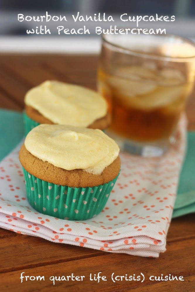 Vanilla Bourbon Cupcakes with Peach Buttercream, perfect for summer on ...