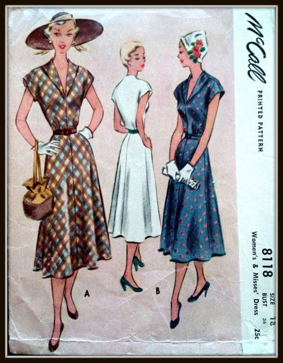 McCall 8118   1950   Women's and Misses' Dress  by ThePatternShopp, $25.00