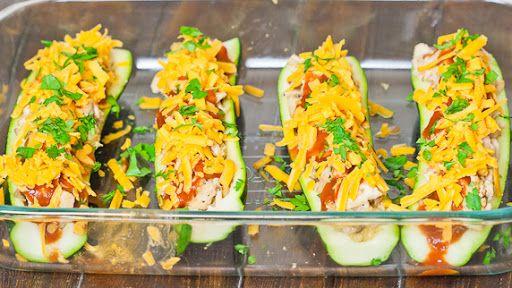 Chicken Enchilada Stuffed Zucchini Recipe on Yummly