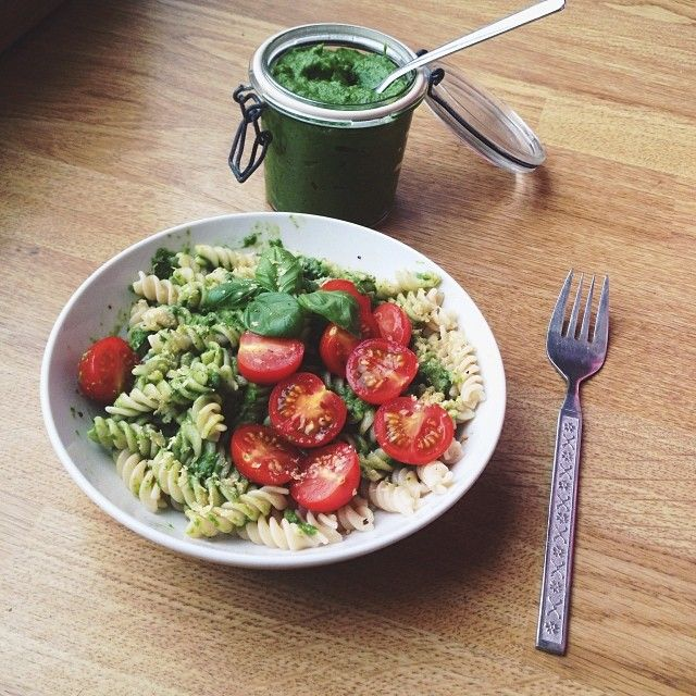Lunch was brown rice fusilli tossed with a creamy avocado super greens ...