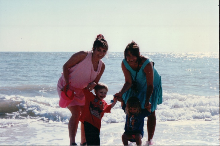 My sister Sue and I go to the beach with the kids.