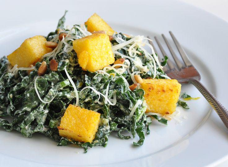Kale Caesar Salad with polenta croutons - yum! #vegetarian #recipe