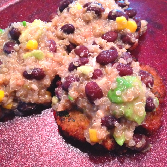 Vegan Zucchini Cakes with Mexican Beans & Quinoa... Mmm...