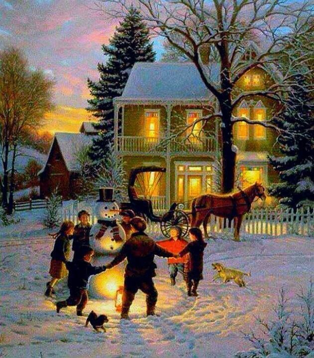 Beautiful snow scene 39 s christmas art pinterest Christmas card scenes to paint