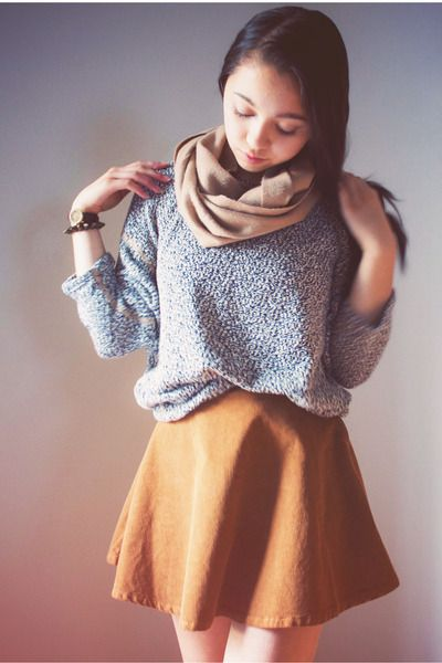 Easy Sweater and Corduroy Circle Skirt with Infinity Scarf. Fall-Winter Staple