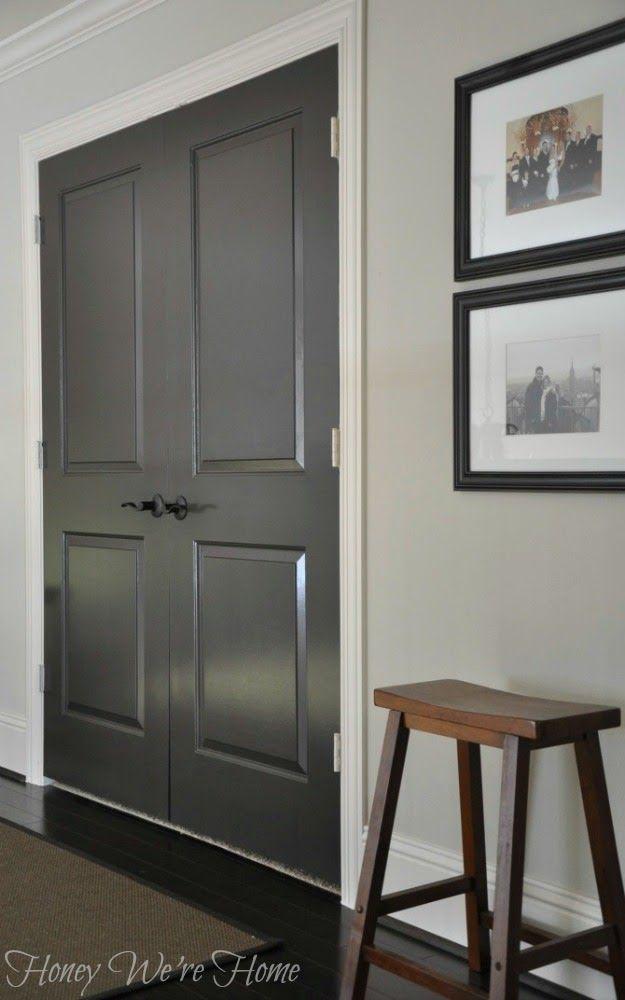 Painted dark grey doors lancer new house pinterest for Dark doors light walls