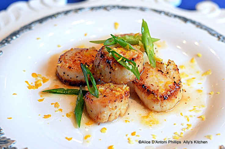 Meyer Lemon Pan Grilled Scallops | Seafood | Pinterest
