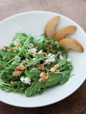 Roasted Pear and Arugula Salad with Caramelized Shallot Vinaigrette