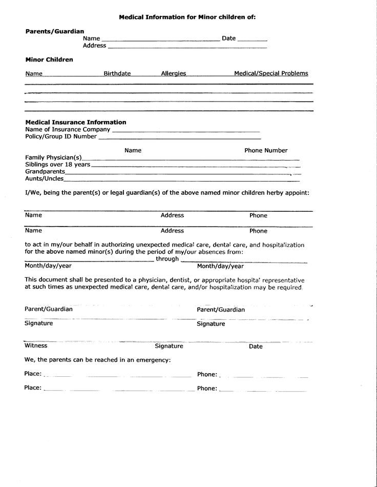 ... Medical Release Form For Minor