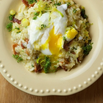 LOVE Risotto! Bacon and Leek Risotto with Poached Egg.