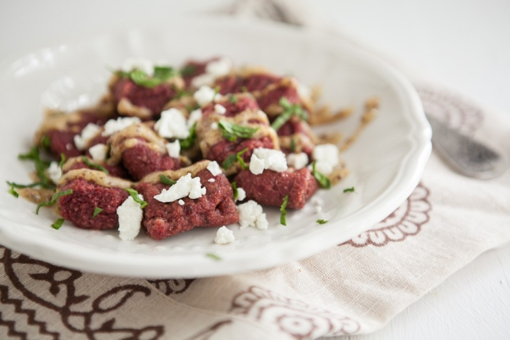 Beet Gnocchi with Mustard Sauce and Goat Cheese from Naturally Ella ...