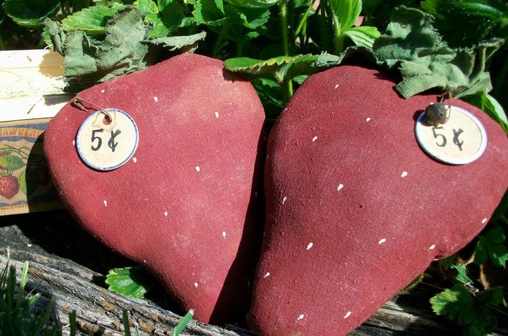 Image detail for -Primitive Strawberry Bowl Fillers & Basket, Summer Decor, Spring Decor ...