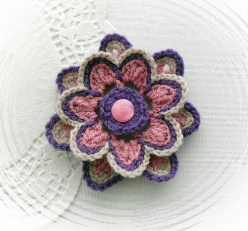 Crochet A Flower Brooch Pattern : Hand crochet corsage brooch applique mauve lilac acrylic ...
