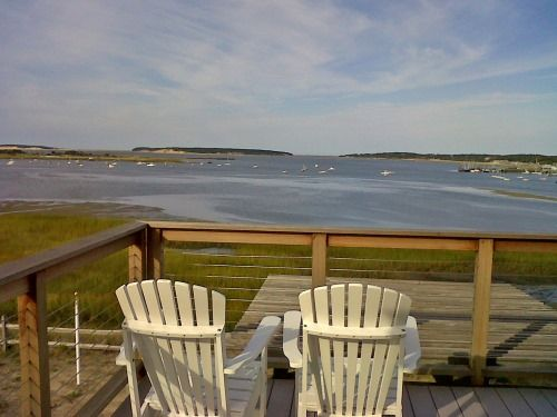 Coffee, juice, muffin, book, view....all set. I love Cape Cod summers!