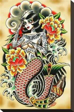 Traditional Mermaid Tattoo Traditional Mermaid Flash