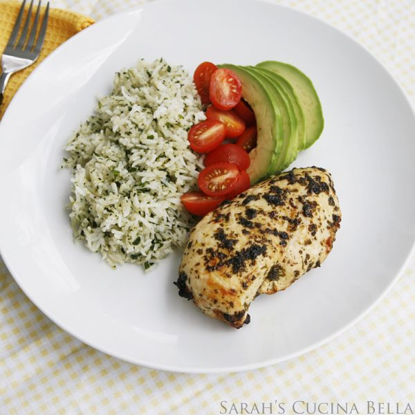Cilantro Lime Chicken and Rice with Avocado and Tomatoes - Sarah's ...