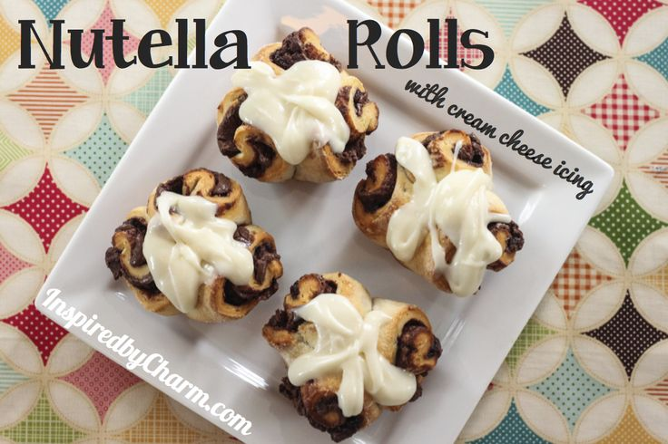 My daughter will go nuts! Nutella Rolls with Cream Cheese Icing via ...
