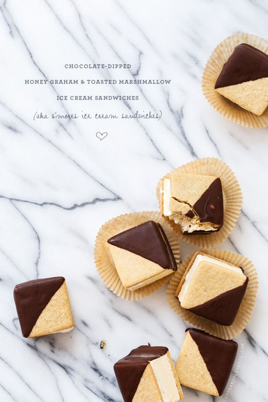 Chocolate-Dipped S'Mores Ice Cream Sandwiches from / loveandoliveoil