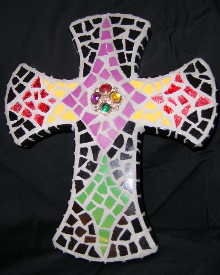 Cross: jewel tones (Amy's Mosaics)